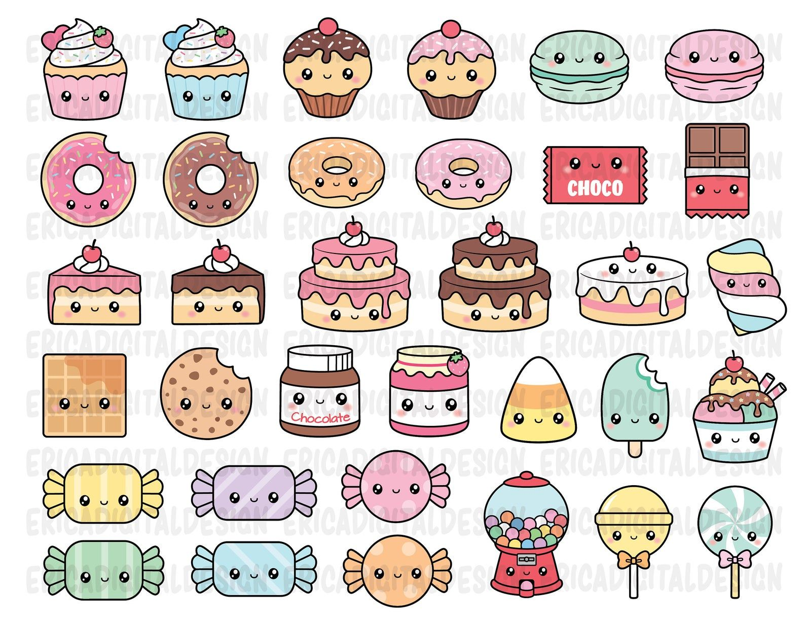 Kawaii Sweets Clipart Cute Sweet Candy Clipart Food Cake Donut Cupcake Gumball Machine Macaron Candies Cookie Ice Cream Muffin Dessert Party In 2021 Cute Doodle Art Cute Small Drawings Cute Easy Drawings