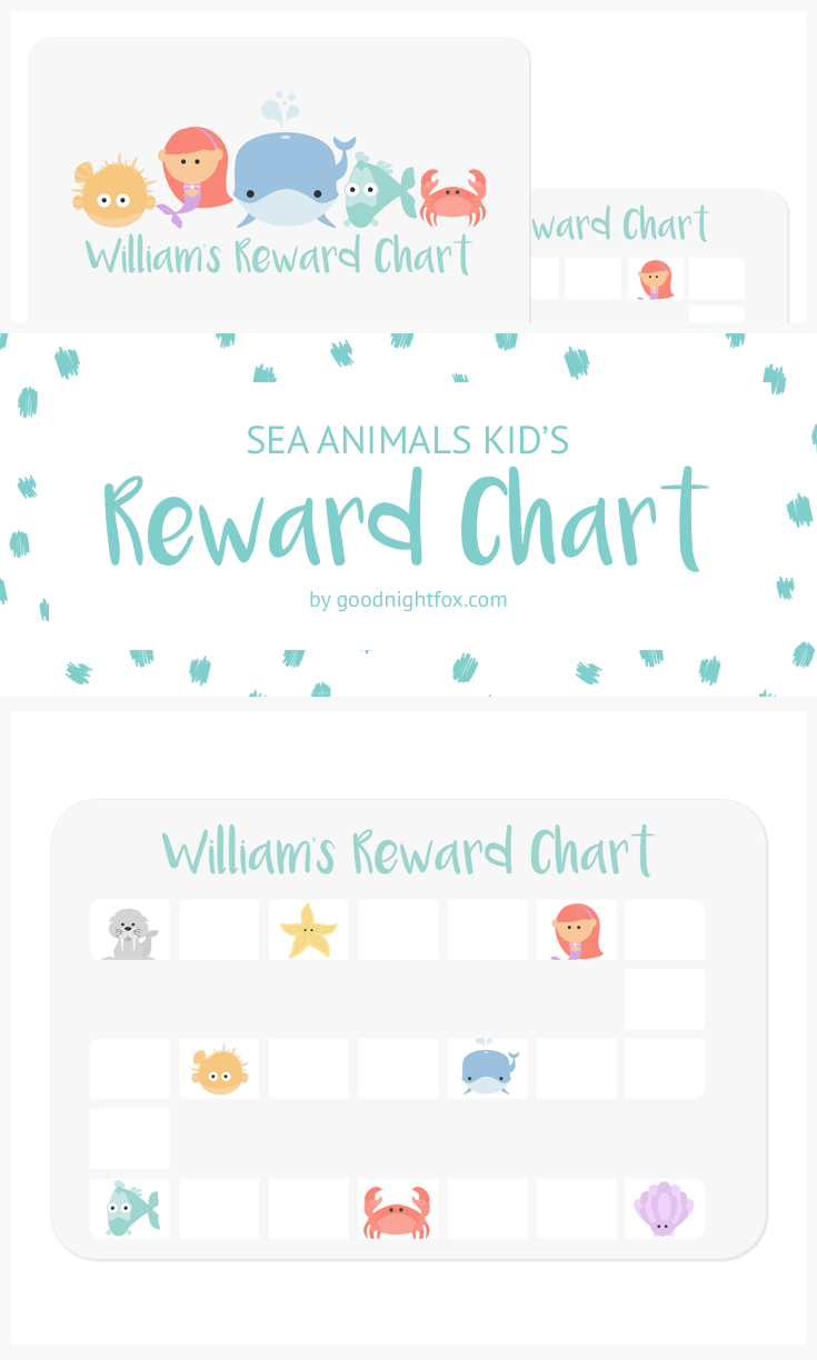 Sea Animals Kid S Reward Chart Personalize This Adorable Award To Motivate Your Child Complete Cs Finish Homework Or Potty