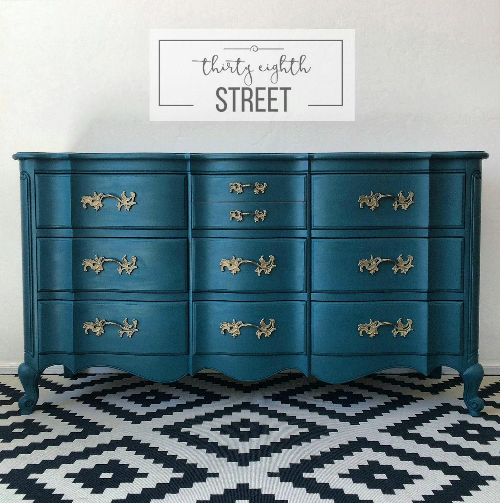 Painted Peacock Blue Dresser Makeover