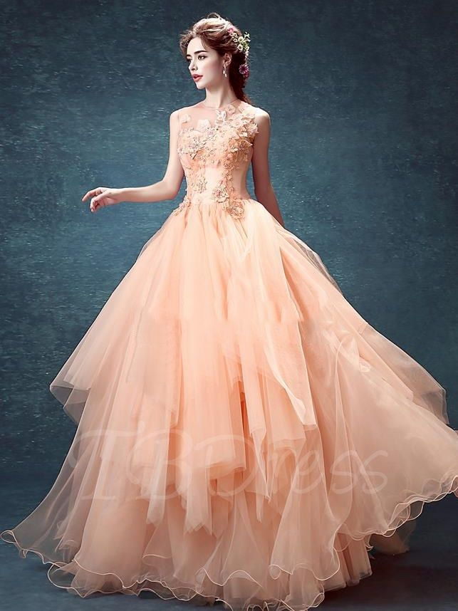 b9cfacbe76a4 Tbdress.com offers high quality Jewel Neck Ball Gown Appliques Beading  Flowers Pearls Floor-length Quinceanera Dress Ball Gowns unit price of $  175.74.