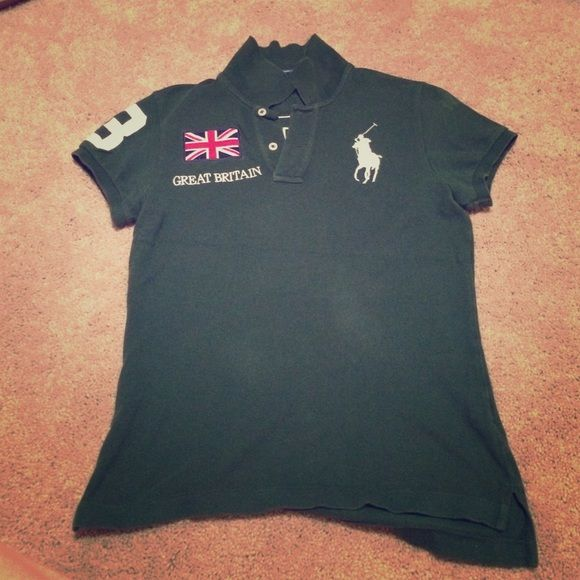 Ralph Lauren Great Britain Big Pony Polo Shirt Pre-owned polo, 100% authentic! Rare find. Hunter green with embroidery. Runs small. Ralph Lauren Tops