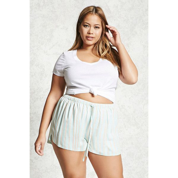 874a3ec1216 Forever21 Plus Size Stripe Dolphin Shorts ( 16) ❤ liked on Polyvore  featuring plus size