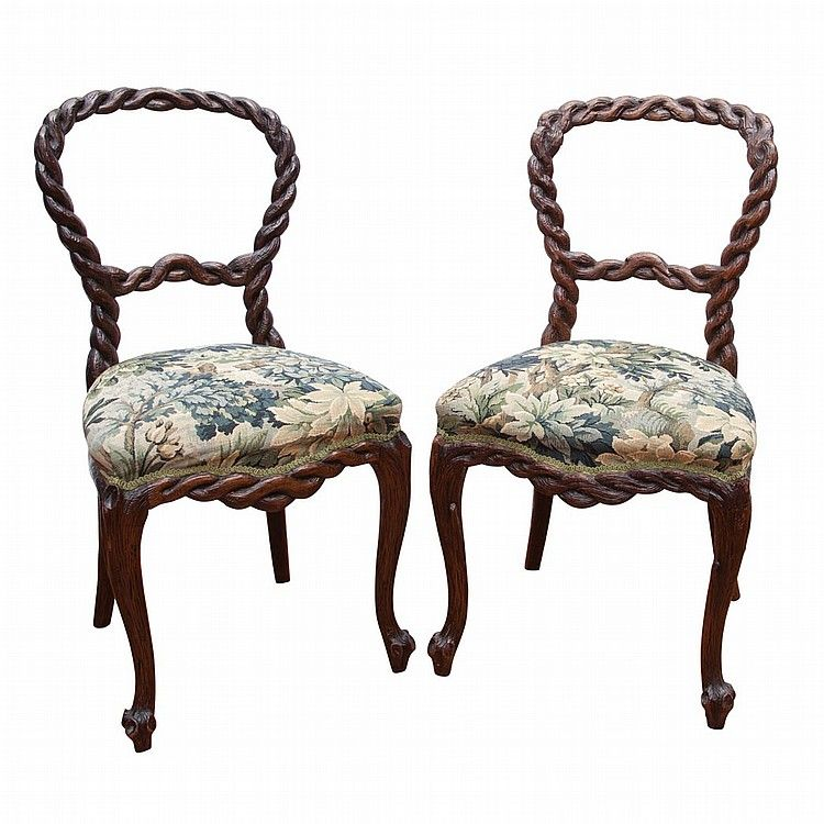 Rococo Revival Carved Oak Dining Chairs, Each Frame Carved As ...