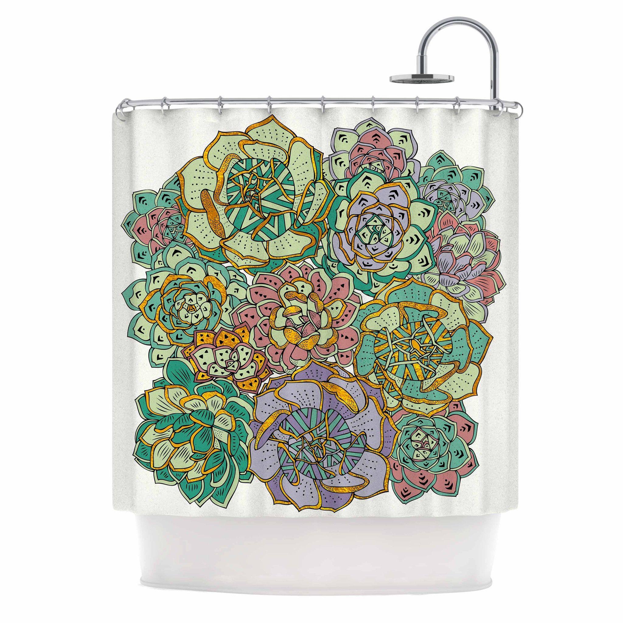 Pom Graphic Design Succulent Love Green Orange Shower Curtain