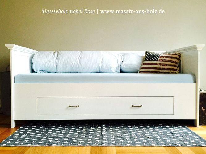 Bett mit Lehne und Schublade, Weiß, Holz massiv Kiefer | www.massiv ...