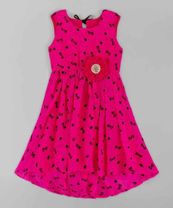 Look at this Neon Pink Bow Hi-Low Babydoll Dress - Toddler & Girls on #zulily today!