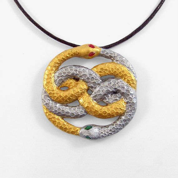Auryn neverending story silver and gold snake pendant and necklace auryn neverending story silver and gold snake pendant and necklace mozeypictures Choice Image