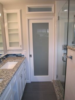 Also Love This One With Frosted Raised Window There Is A Word For That But Blanking Now Pocket Doors Bathroom Bathroom Closet Storage Bathroom Closet