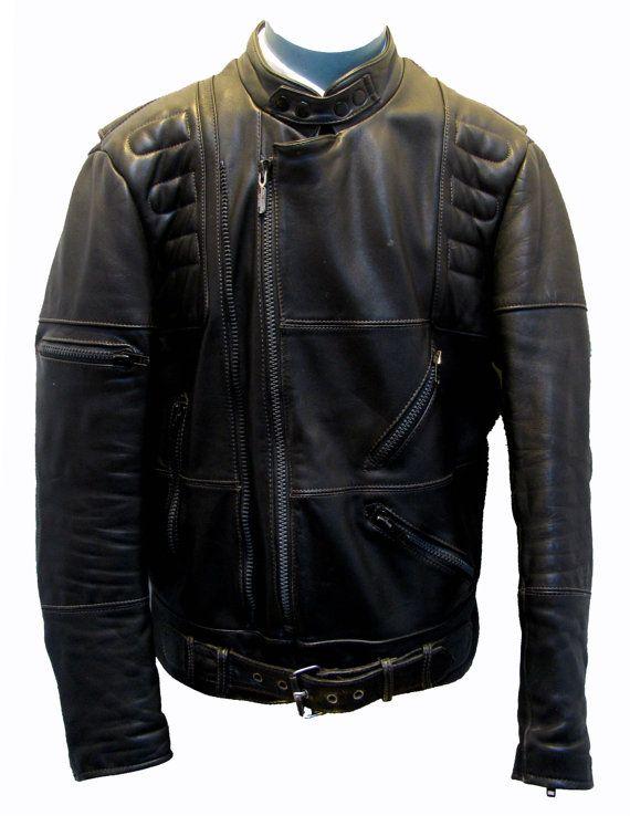 Vintage Motorcycle Jacket Mens Harley Davidson Black Leather European Style Biker Jacket Mns Size 46 Tall In 2020 Motorcycle Jacket Mens Mens Jackets Jackets