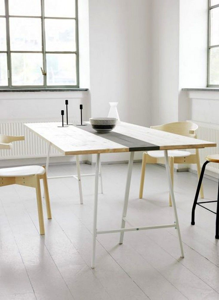 Another Ikea Hack How Is It That A Stripe Of Paint Down The Middle Of A Plain Pine Tabletop Creates Something So Be Ikea Diy Table Diy Dining Table Diy Table