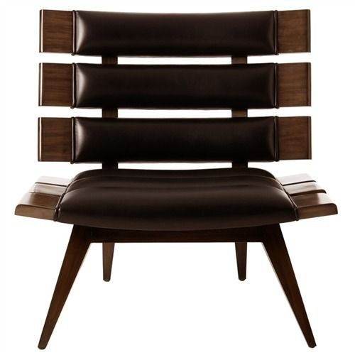 Mercedes - Leather/Mahogany Wood Chair
