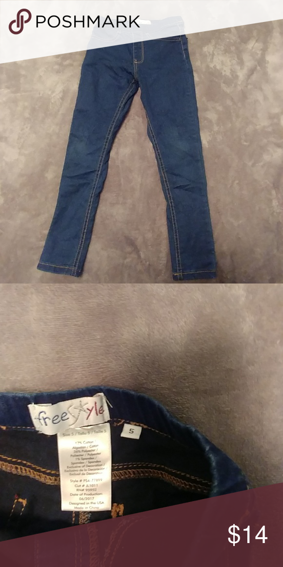 a918b5a1a5a84 5T girls skinny jeggings 5T girls skinny jeggings, dark wash From smoke  free, pet free home Freestyle Bottoms Jeans
