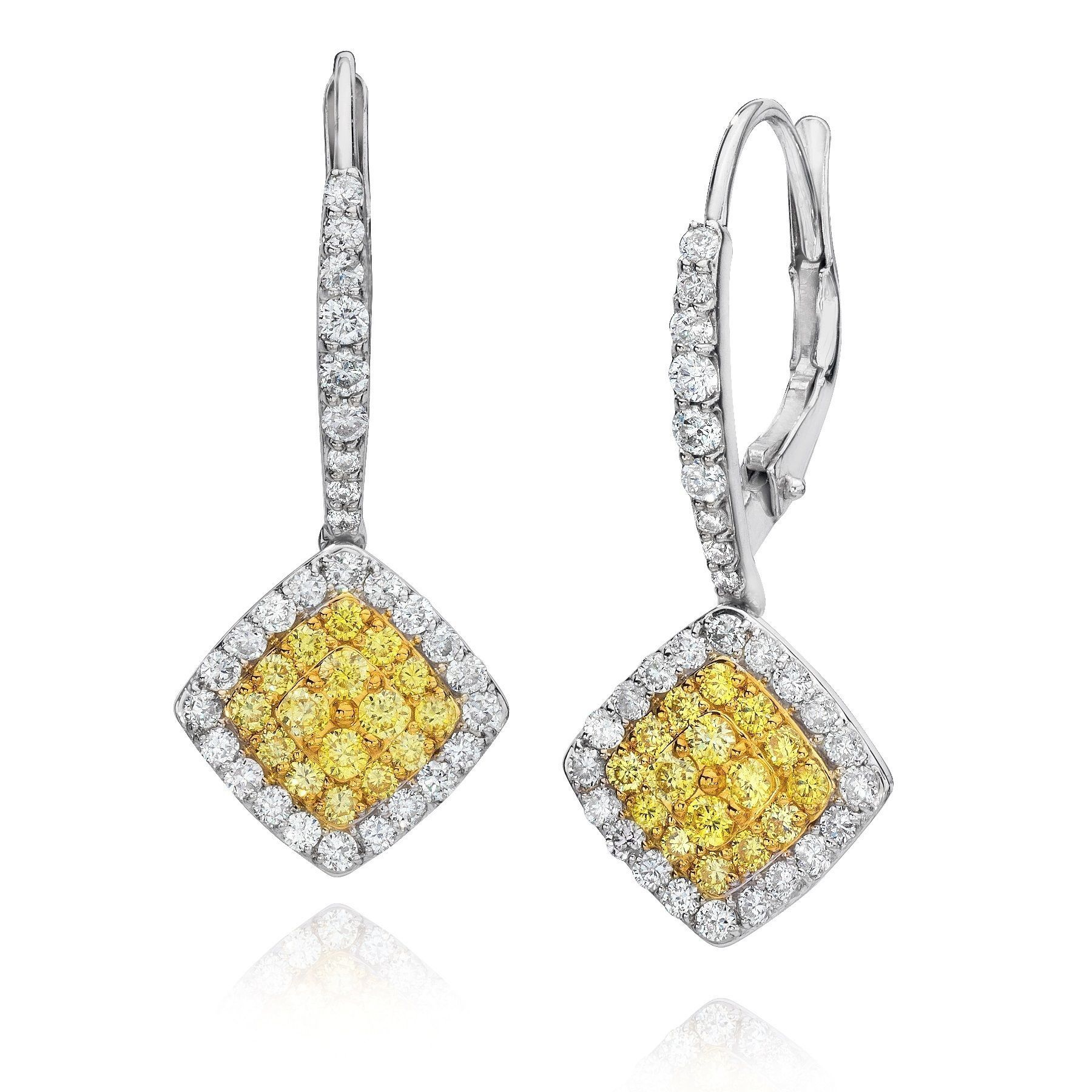 Miadora signature collection 14k white gold 1ct tdw diamond double row - 18k White Gold 1ct Tdw Fancy Natural Yellow Diamond Earrings By Life More Dazzling G H