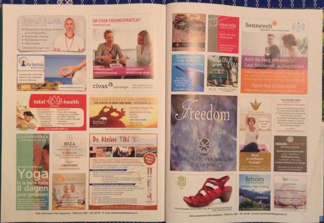 Deel 2 analyse - Magazine happinez: de verschillende advertenties staan helemaal op het einde van het magazine, er zijn ook een aantal grote advertenties op één pagina.