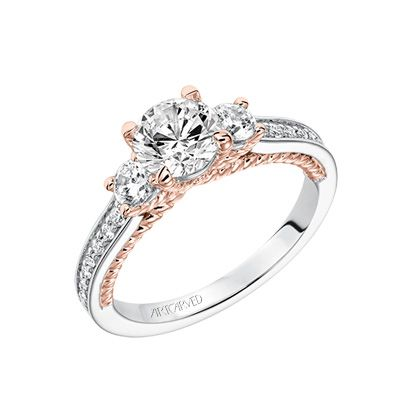 Three stone engagement ring with rose gold rope detail basket & gallery  with diamond accented shank