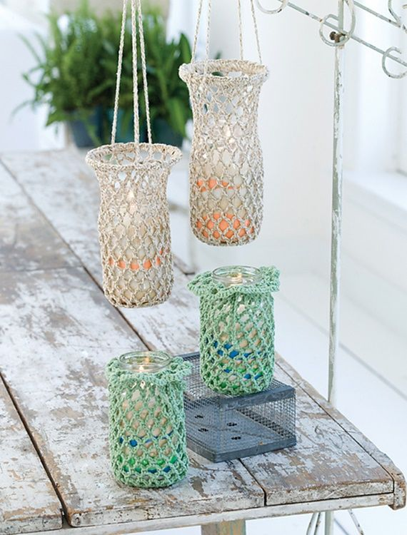 Crochet Hanging Luminaries by Red Heart | crochet | Pinterest