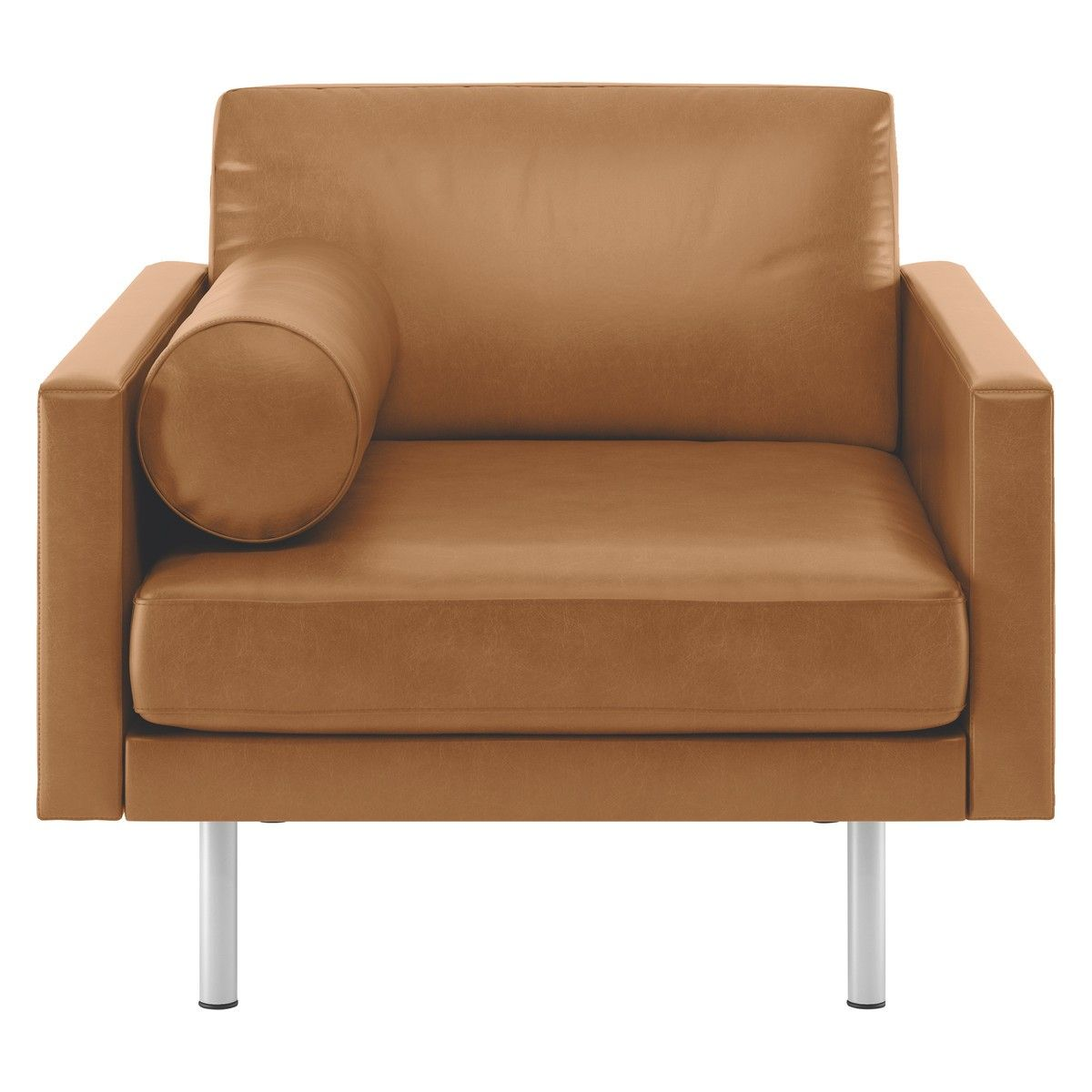 SPENCER Mid tan leather armchair, metal legs