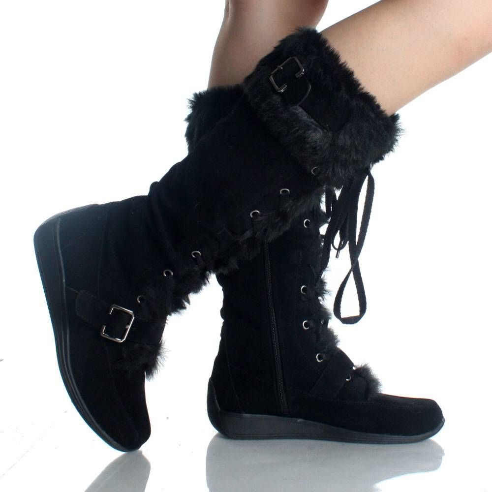 Women's Warm Ankle Bootie Genuine Suede-Leather Real Fur-Cuff Wedge-Heels Buckle Zipper-up 5-9