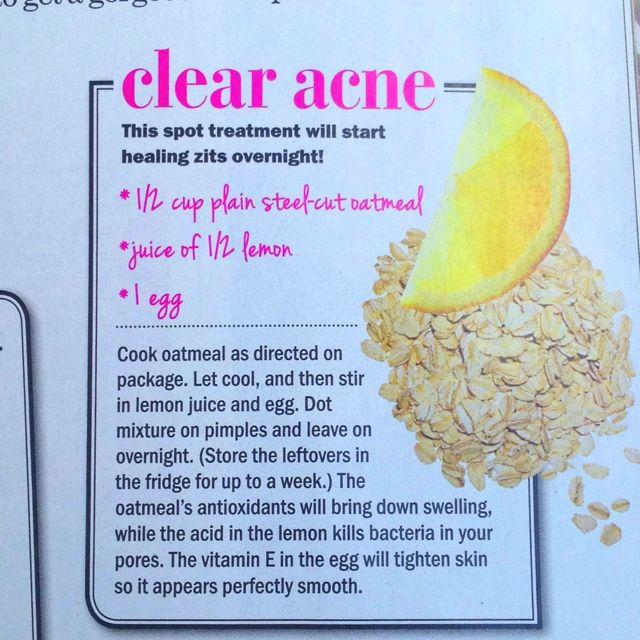 Heal Acne Overnight With Oatmeal Lemon And Egg Diy Acne