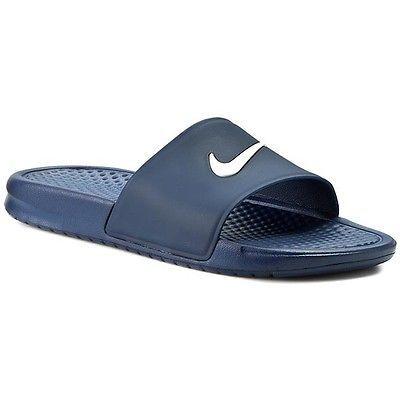 Nike Benassi Shower Slide Mens 819024-410 Navy Blue White Logo Sandals Size  9