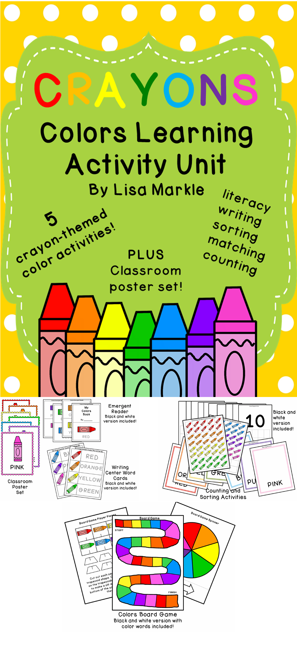 Crayons Theme Colors Learning Activity Unit for Preschool | Counting ...
