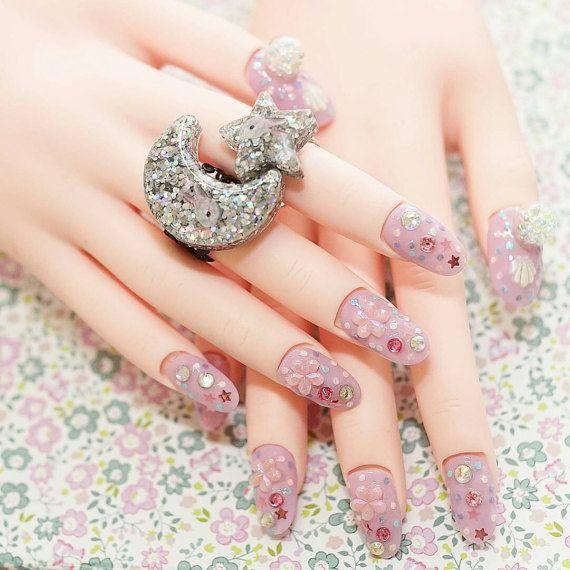4D nails, Japanese nail art, lilac, sakura, fake nails, beads nail ...