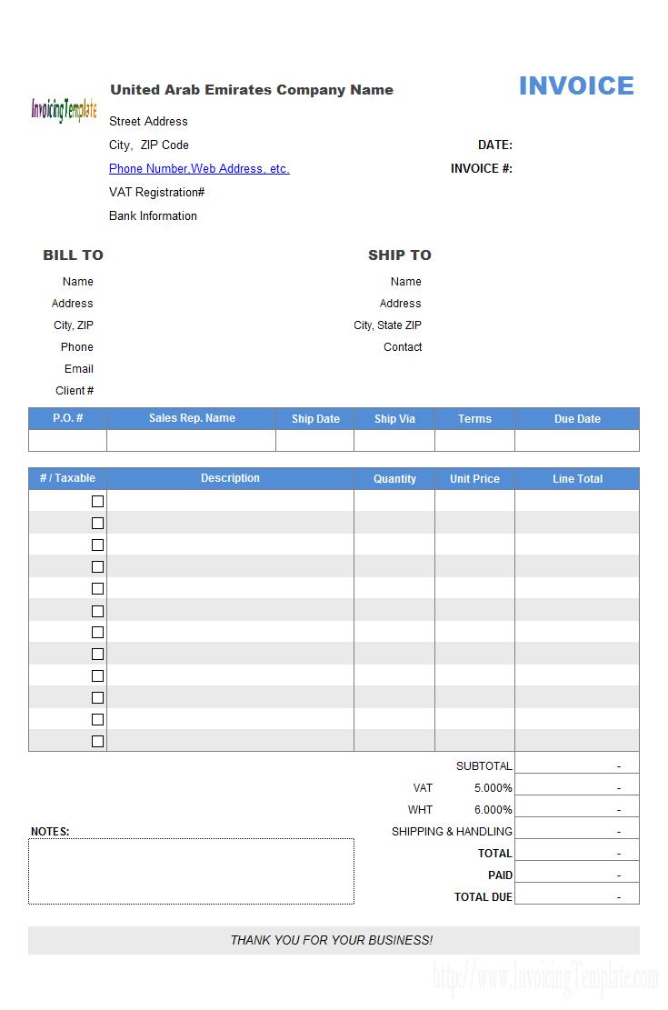 United Arab Emirates Invoice Template Invoice Template Invoice Template Word Invoice Format