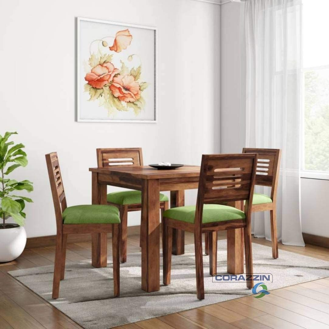 Corazzin Wood Sheesham Wood Wooden Dining Set 4 Seater Dining