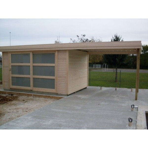 Abri de jardin toit plat chalet pinterest toit plat for Abri de jardin toit plat avec auvent
