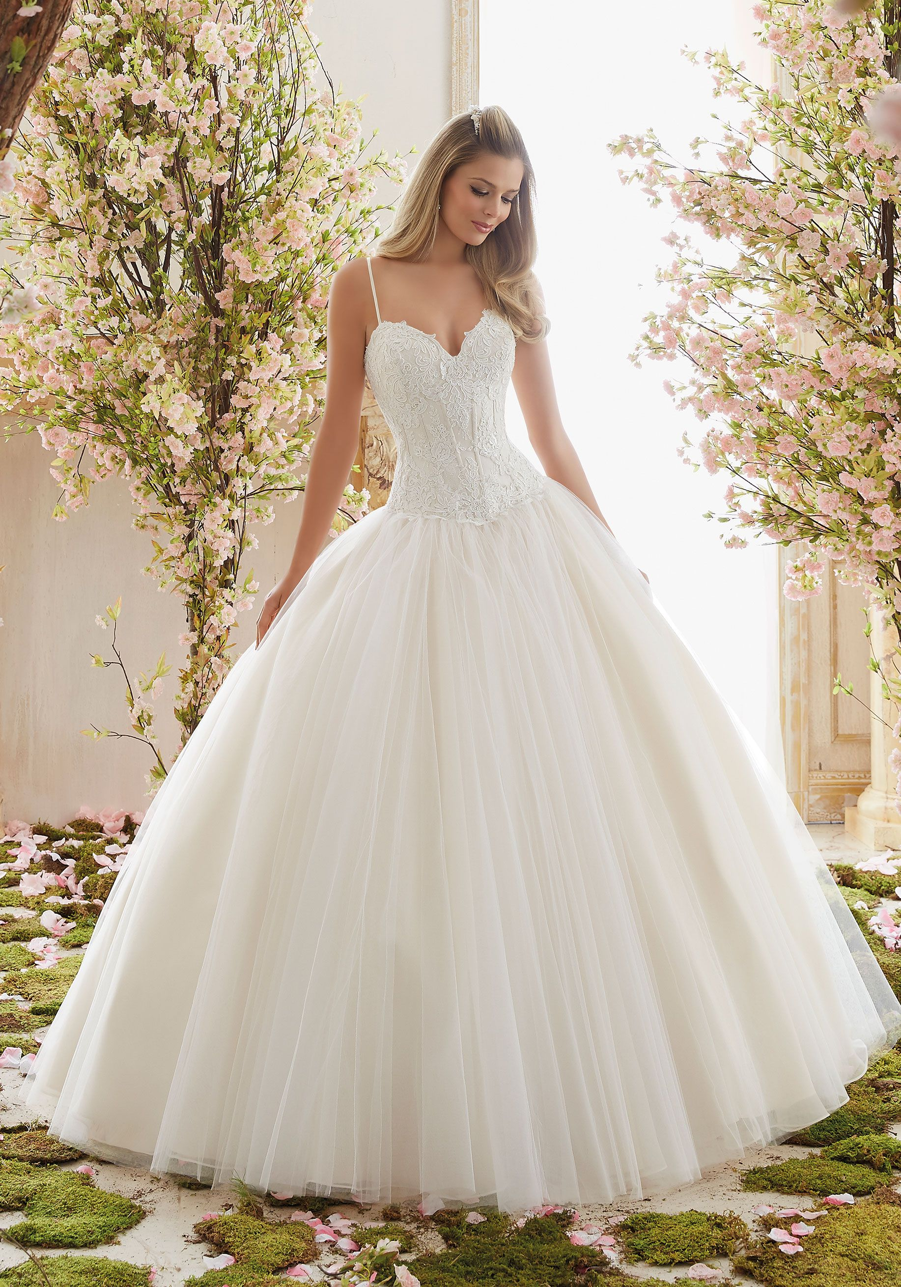 Chantilly Lace on Tulle Ball Gown Wedding Dress | Morilee