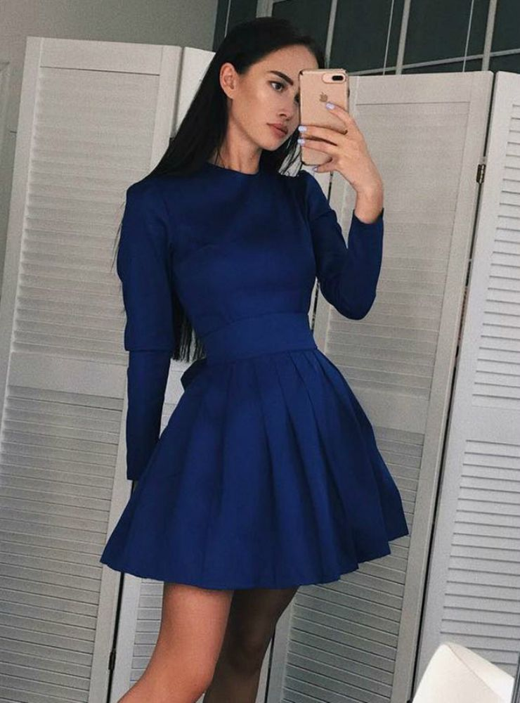 463019bf144 A Line Jewel Pleated Blue Short Satin Long Sleeve Homecoming Dress ...