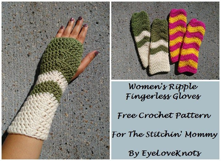Womens Ripple Fingerless Gloves Free Crochet Pattern Fingerless