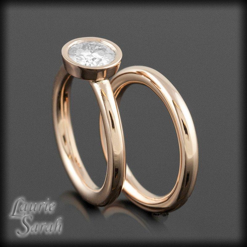 Bezel Set Moissanite Rose Gold Engagment Ring and Wedding Band via