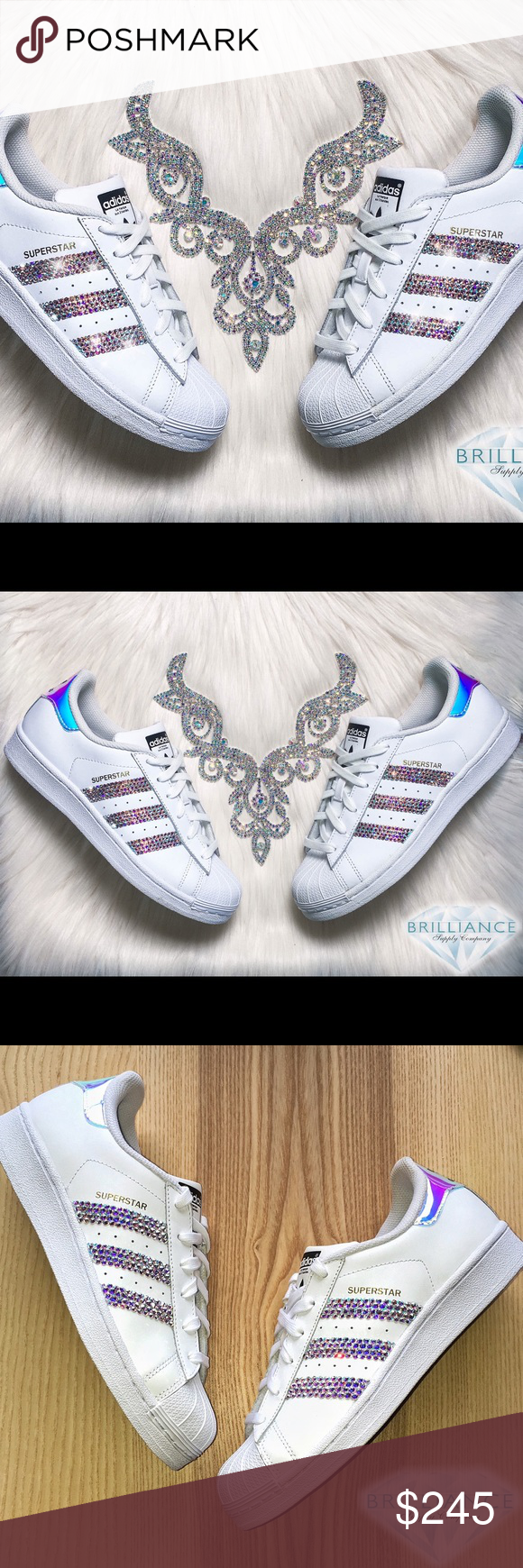 new product 24a9a 5dab2 Swarovski Nike Adidas Superstar Hologram Shoes Authentic Adidas Superstar  Shoes White Hologram Metallic- Extremely rare, they were a limited Adidas  release.