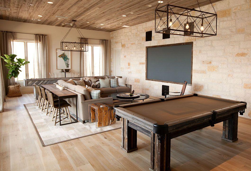 Charming Possum Kingdom Lake Home Envisioned By Tracy Hardenburg Freshome Com Game Room Family Pool Table Room Media Room Design
