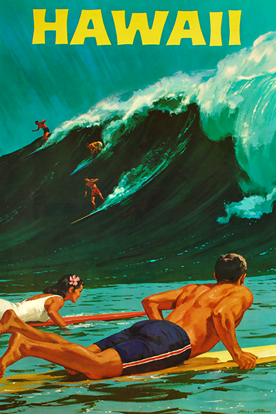 hawaii vintage travel poster vintage