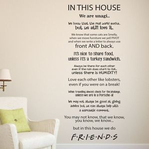 In This House Quotes In This House We Do Friends Tv Show Wall