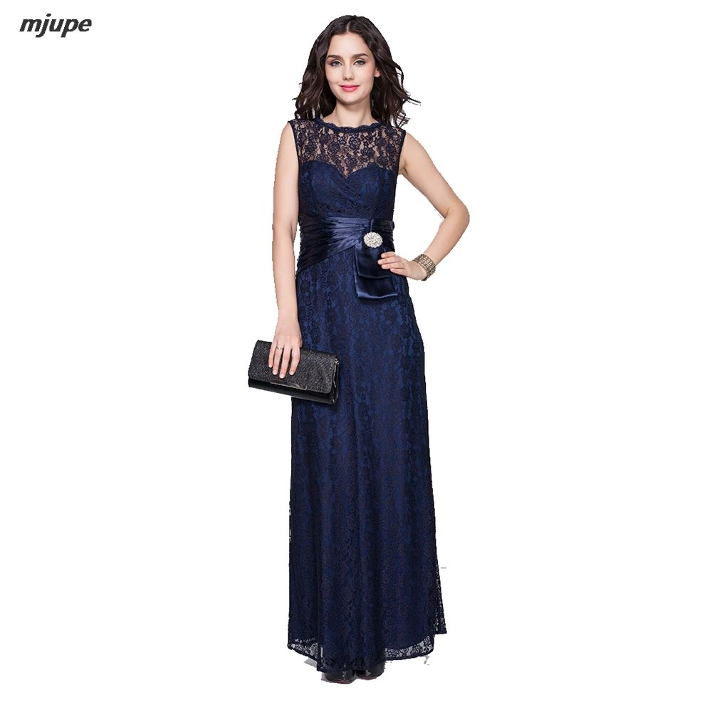 Click to buy ucuc new navy blue lace evening dress hollow out