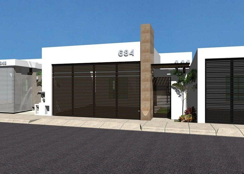 fachadas de casas con rejas horizontales negras portones
