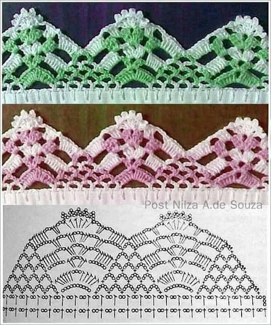 Barrados Com Graficos Bicos De Croche Simples Croche Simples