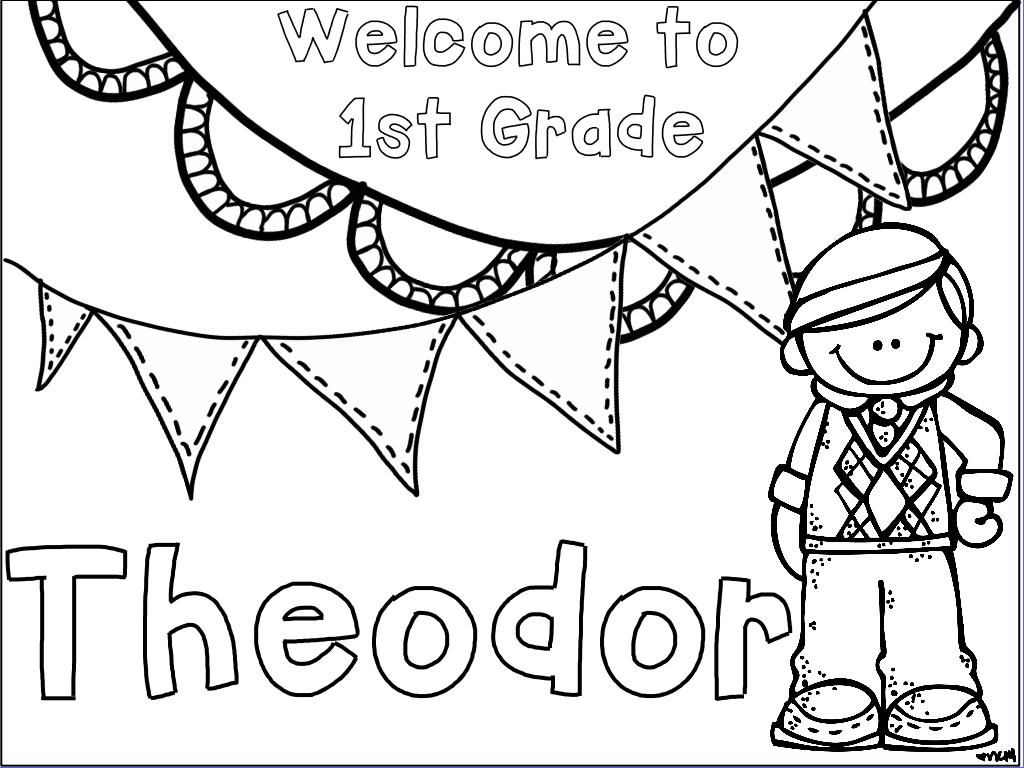 First Day of School Name Coloring Pages First Grade
