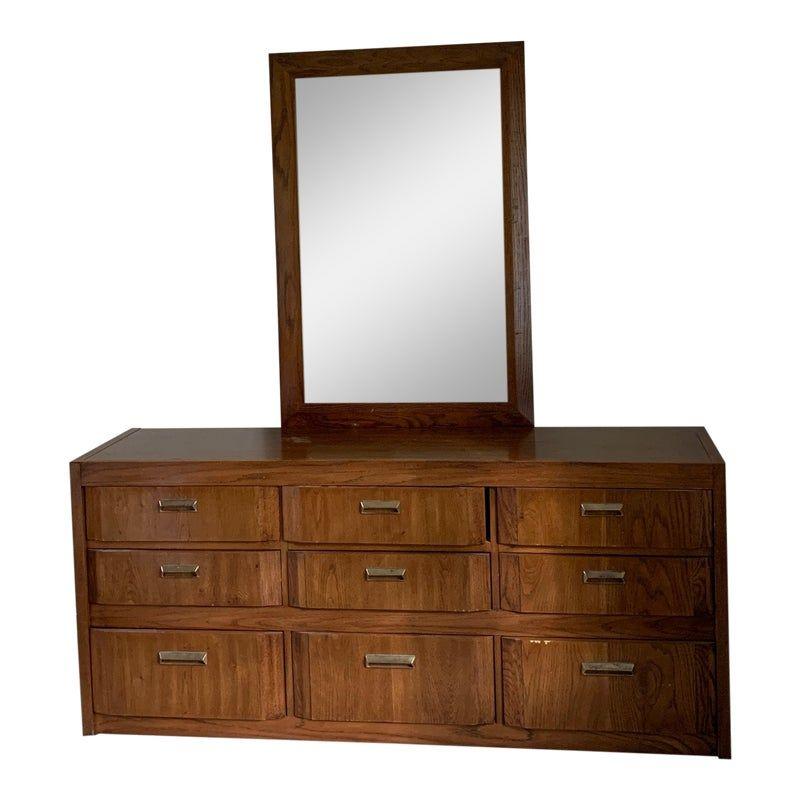 Mid-Century Modern Thomasville Bedroom Dresser & Mirror ...