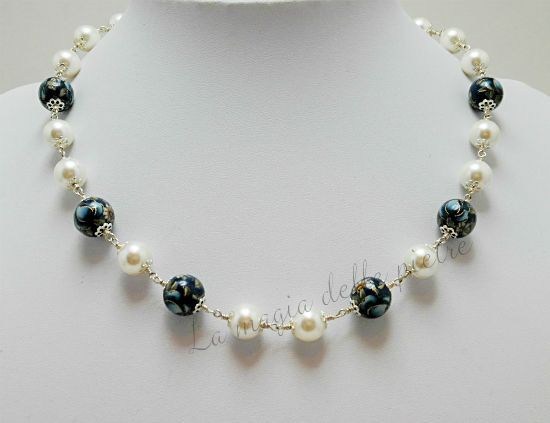 Perle tensha blu | Girocollo elegante | La magia delle pietre