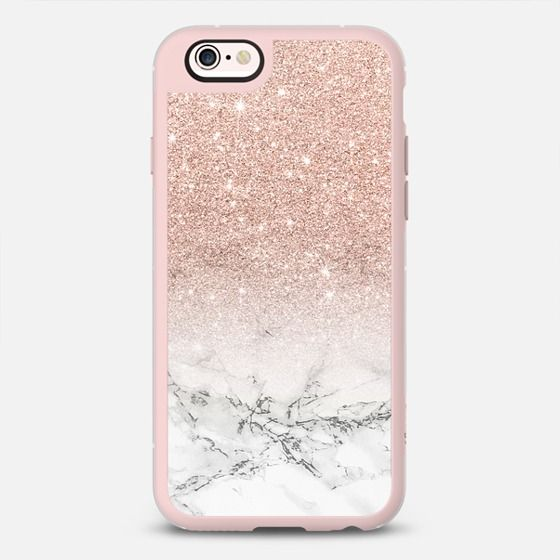 Modern Rose Gold Foil Glitter Ombre White Marble Color Block By Girly Trend Iphone 6s Case By Girly Trend Casetify Rose Gold Phone Case Case Rose Gold Iphone