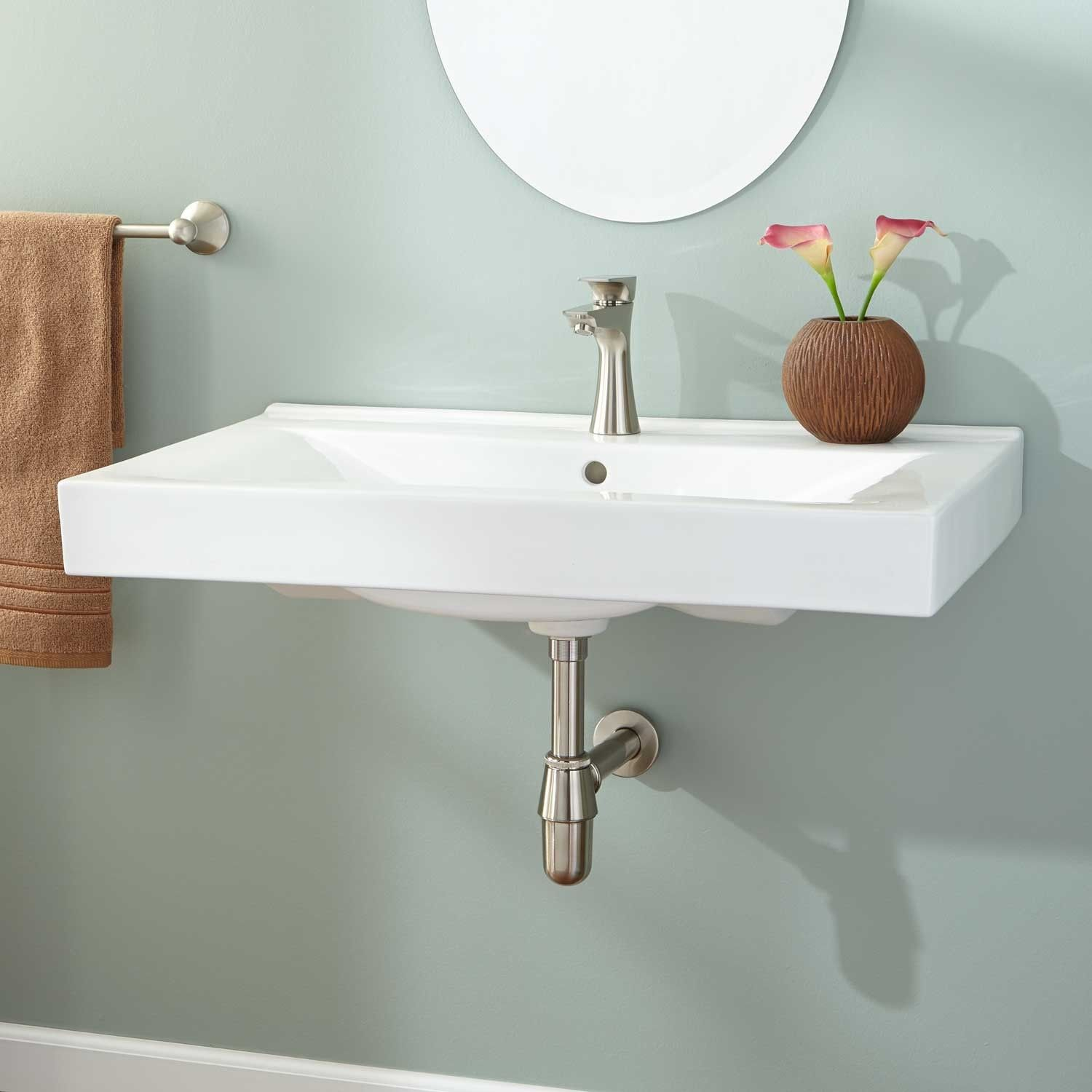 Wall hanging sink bathroom - The Simple Look Of The Maggie Rectangular Wall Mount Sink Allows You To Renovate Your Space Without Worry Of Mismatched Decor To Complete Your Bathroom