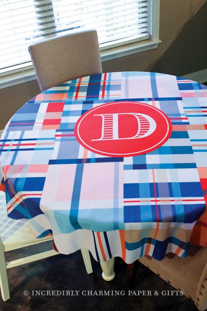 Our personalized table cloth will create a unique and festive setting anywhere it's used in your home. The design is imprinted directly on 100% polyester fabric that is machine washable.