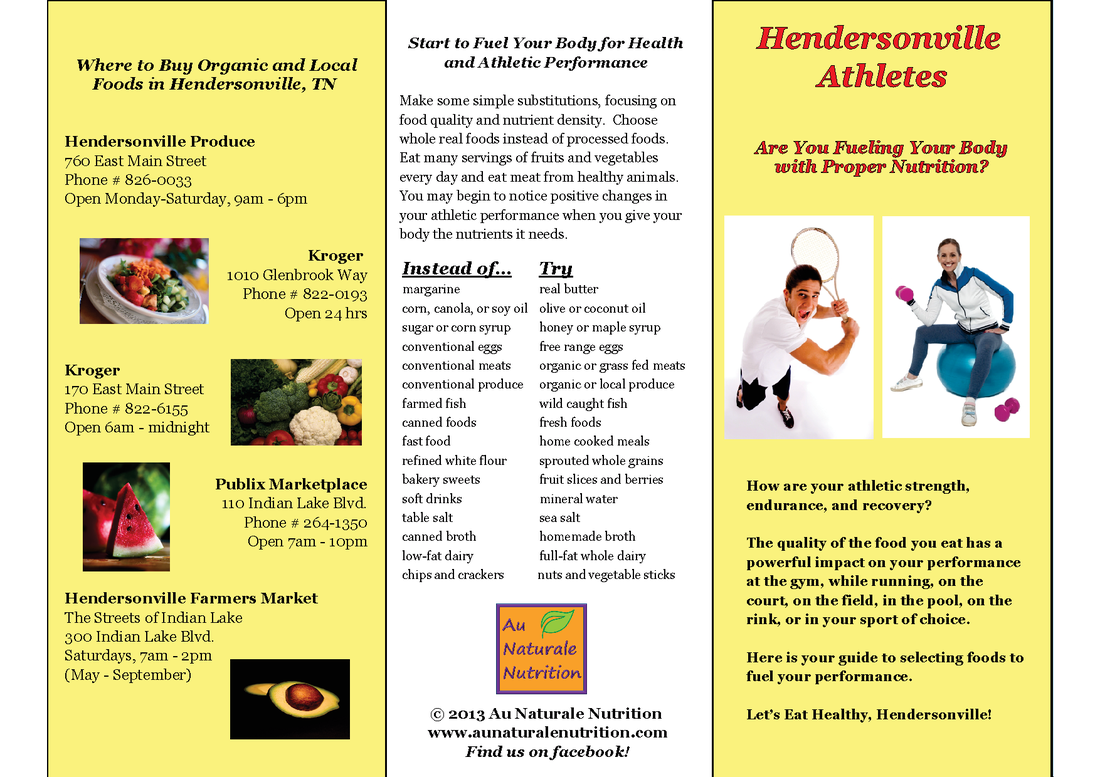 Eat Healthy, Hendersonville Athletes!  by www.AuNaturaleNutrition.com