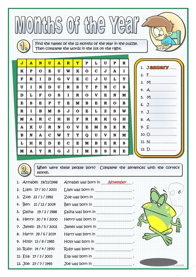 THE MONTHS OF THE YEAR worksheet - Free ESL printable worksheets made by  teachers   English worksheets for kids [ 1079 x 763 Pixel ]