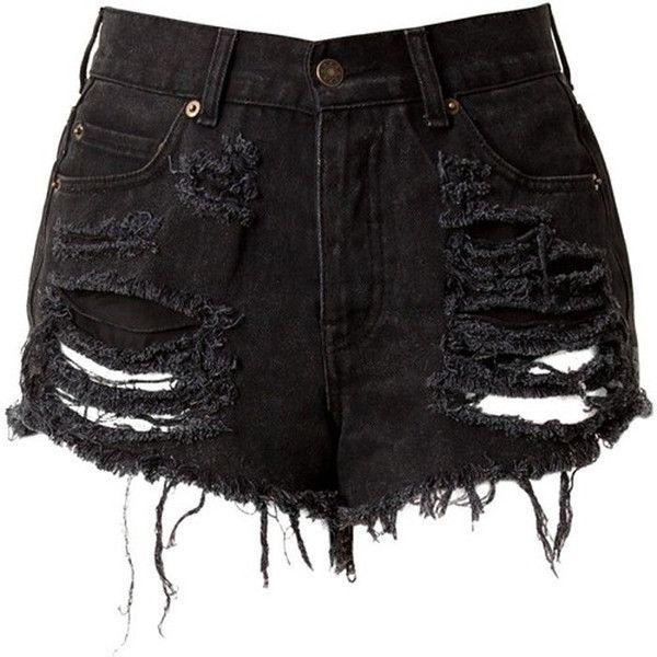 Black High Waisted Denim Shorts - Destroyed ($40) via Polyvore ...