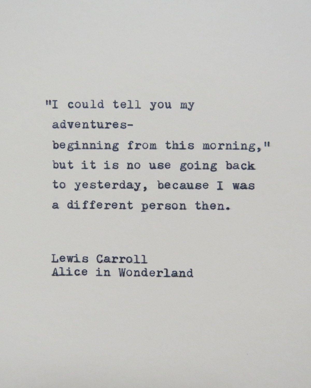 Alice in Wonderland Quote Hantyped on Typewriter / Typewriter Quote